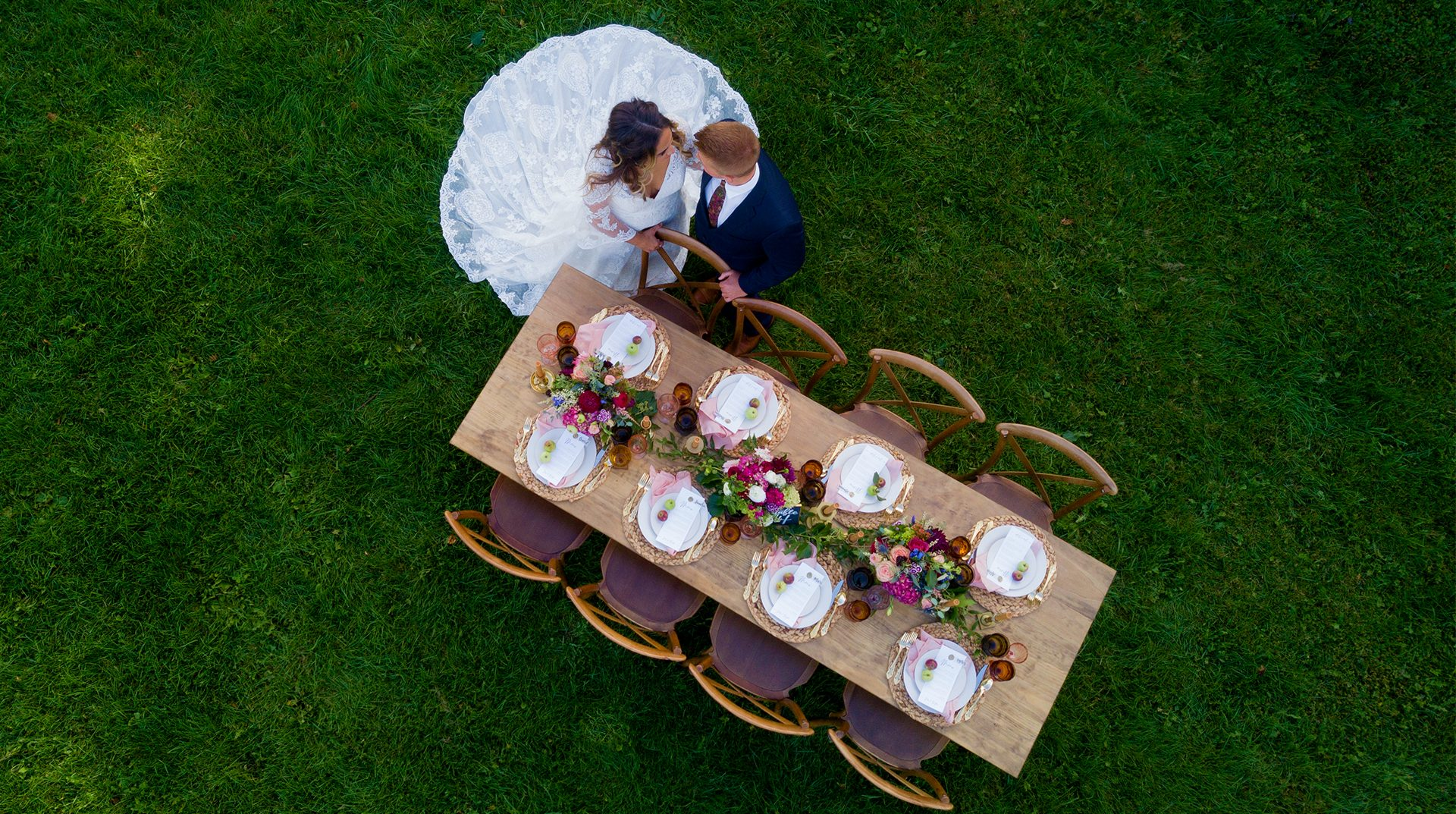 Bride and Groom Guest Table Straight Down